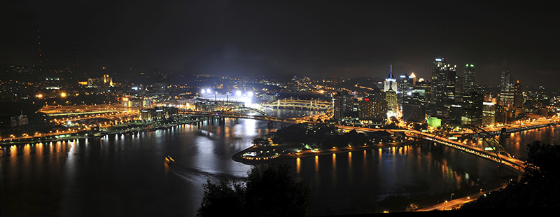 Pittsburgh and its luminous skyline